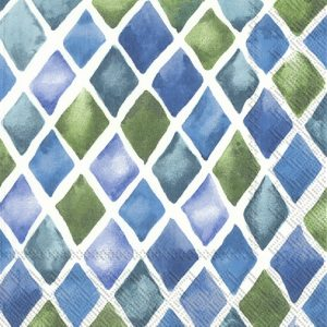 Rhombus Patterns Green And Blue Decoupage Napkin