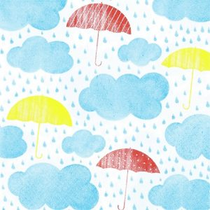 Blue Clouds With Mixed Colour Umbrella Decoupage Napkin