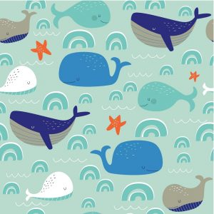Blue Whales With Starfish Decoupage Napkin