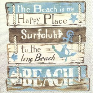 Happy Place At The Beach Decoupage Napkin