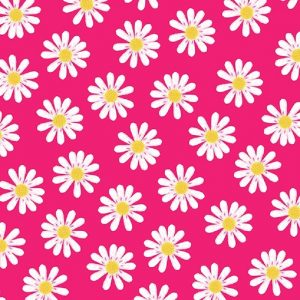White Daisies In Pink Background Decoupage Napkin