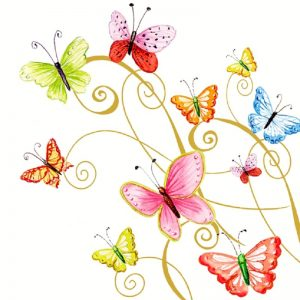 Mixed Colour Painted Butterfly Decoupage Napkin