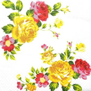 Yellow And Pink Roses In The Garden Decoupage Napkin