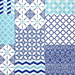 Blue With White Mosaic Pattern Decoupage Napkin