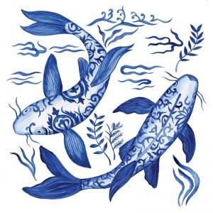 Blue Fishes In White Background Decoupage Napkin
