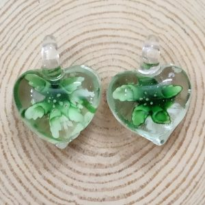 Heart Glass Pendant - Green