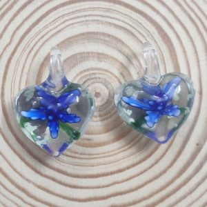 Heart Glass Pendant - Royal Blue