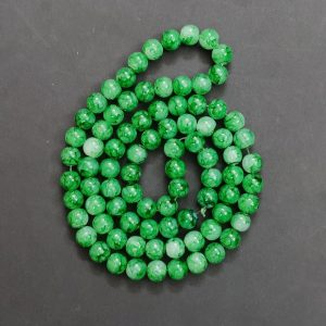 Double Shade Green Round Glass Beads