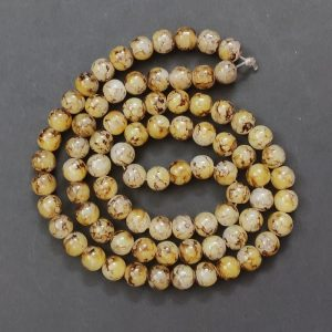 Double Shade Light Yellow With Brown Round Glass Beads