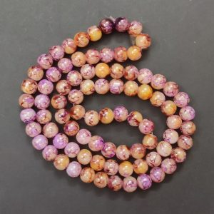 Double Shade Purple With Yellow Round Glass Beads
