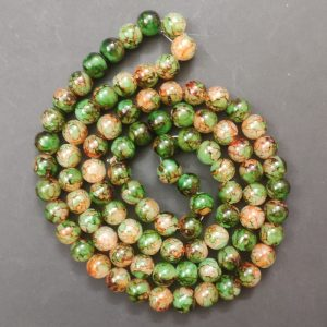 Double Shade Green With Yellow Round Glass Beads