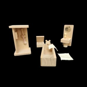 Miniature Doll House Bathroom Set