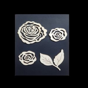 Wooden Embellishments Pack -  Roses With Leafs
