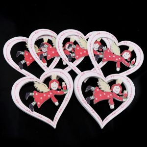 Christmas Heart And Angel Wooden Embellishment