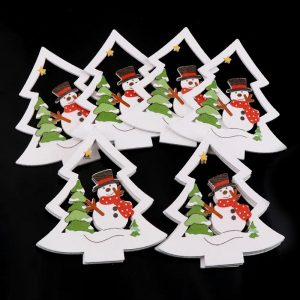 Christmas Tree And Snowman Wooden Embellishment