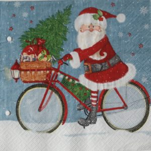 Santa Riding On A Cycle Decoupage Napkin
