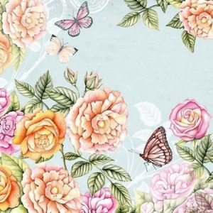 Flower And Butterfly In Botanical Garden Decoupage Napkin