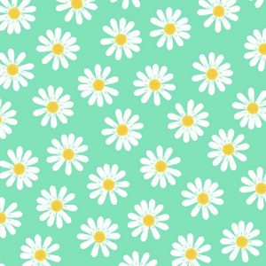 White Daisies In Teal Background Decoupage Napkin