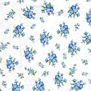 Bunches Of Blue Flowers Decoupage Napkin