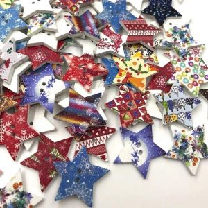 Mixed Christmas And Winter Theme Star Wooden Buttons