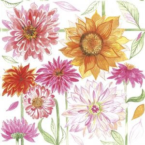 Pink Flower With Sunflower In The Garden Decoupage Napkin