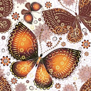 Orange Butterflies Decoupage Napkin