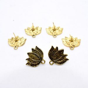 Antique Gold Lotus Pattern Earrings