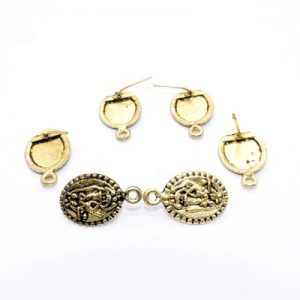 Antique Gold Oval Pattern Earrings