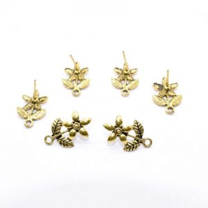 Antique Gold Flower With Leaf Pattern Earrings