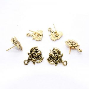 Antique Gold Lotus With Ganesh Pattern Earrings