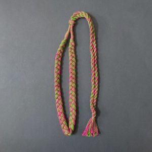 Green With Pink Braided Cotton Thread Neck Rope