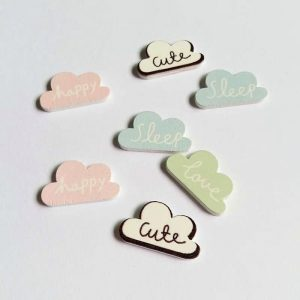 Cloud Sentiment Wooden Embellishments