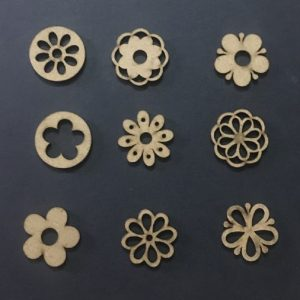 MDF Mixed Flower Embellishments