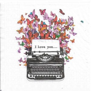 Colorful Butterflies With Typewriter Decoupage Napkin