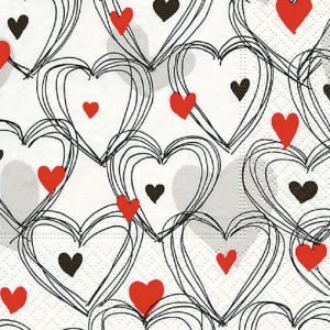 Black Outline Hearts With Red And Black Hearts Decoupage Napkin