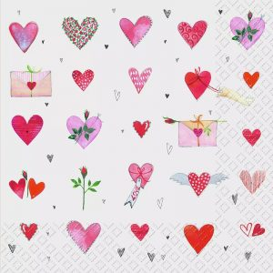Pink Hearts With Rose Buds Decoupage Napkin
