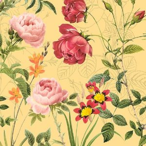 Bunches Of Flowers In Yellow Background Decoupage Napkin