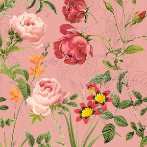 Bunches Of Flowers In Pink Background Decoupage Napkin