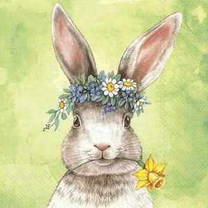 Bunny Flower On Head Decoupage Napkin