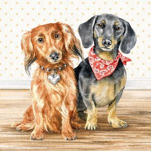 Black And Brown Dogs Decoupage Napkin