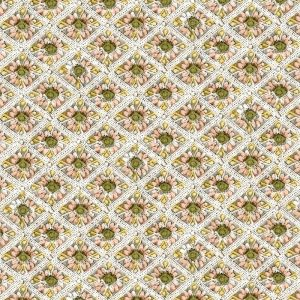 Rhombus Pattern Inside Flower Prints Decoupage Napkin