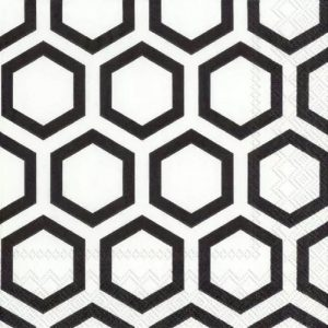 Black And White Hexagon Pattern Decoupage Napkin