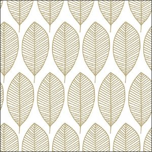 Oval Leaves In White Decoupage Napkin