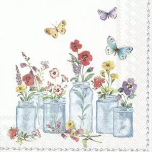 Flower Jars With Butterfly Decoupage Napkin