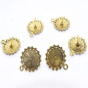 Antique Gold Round Pattern Earrings