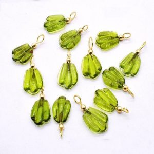 Green Glass Leaf Shape Charms