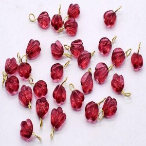 Pink Glass Leaf Shape Charms