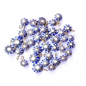 Blue With White Glass Round Shape Charms