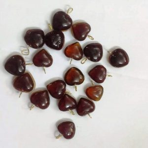 Brown Glass Heart Shape Charms