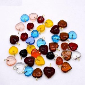 Mixed Colour Glass Heart Shape Charms